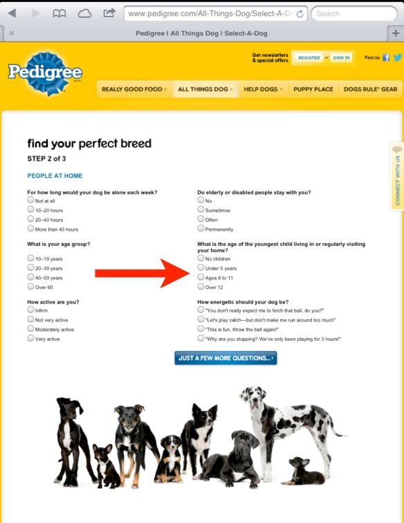 pedigree select-a-dog