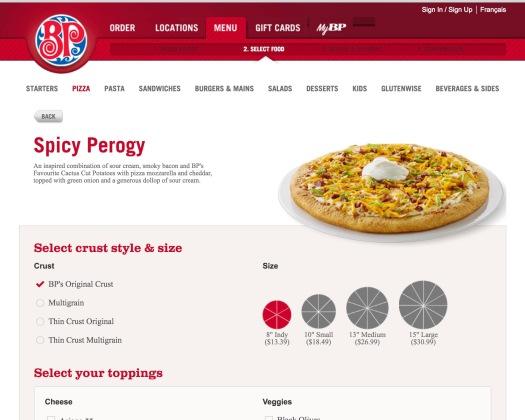 BP Pizza Menu