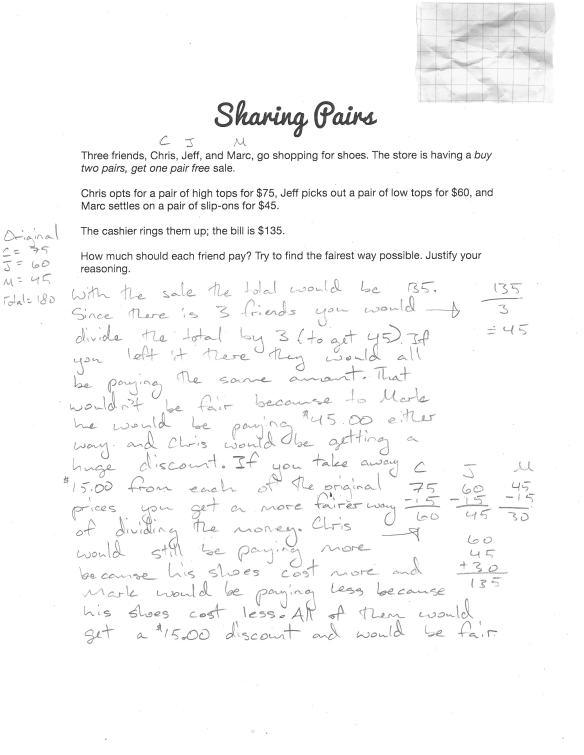 Sharing Pairs - Sample Student Response A