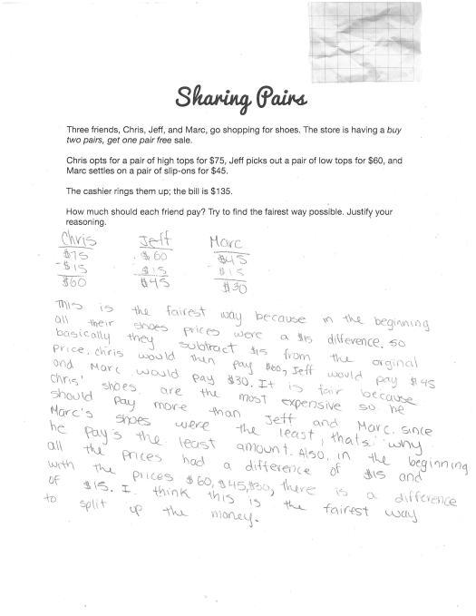 Sharing Pairs - Sample Student Response B