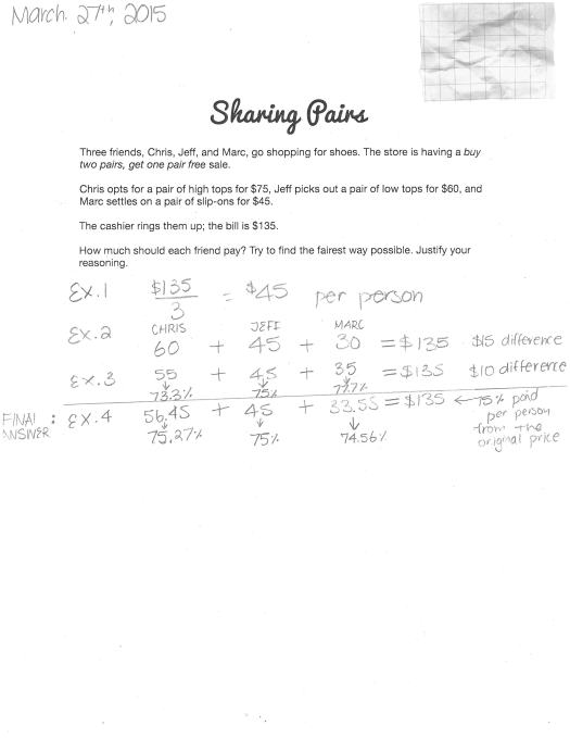 Sharing Pairs - Sample Student Response D